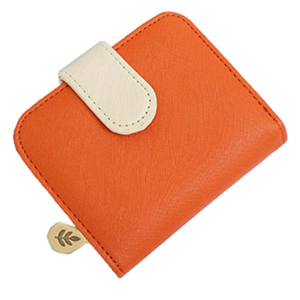 Lady short paragraph cross strip multi-card bit zero purse zipper buckle wallet, Orange+beige