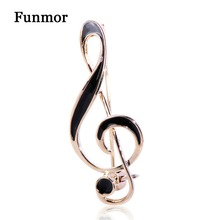 FUNMOR Simple Musical Note Shape Brooch Gold Color Black Enamel Brooches For Women Men Concert Jewelry Musician Lapel Pins Gifts pair of chic solid color musical note shape alloy cufflinks for men