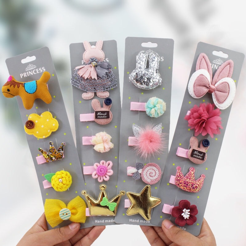 Baby Hairpins Kids Barrettes Crown Bow Cartoon Hair Clips for Girls Bobby Pins Headwear Children Hair Accessories 5pcs/set