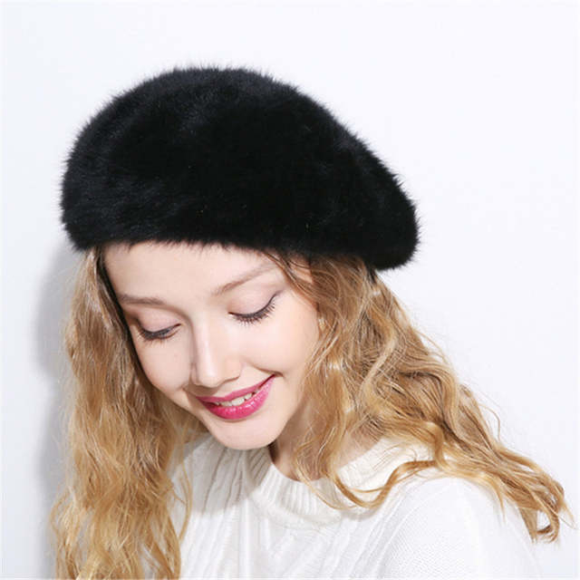 d4d383e1 Xthree Winter Autumn women's Rabbit fur beret hat for girl knitted hat  solid fashion taking the female boina-in Berets from Apparel Accessories on  ...