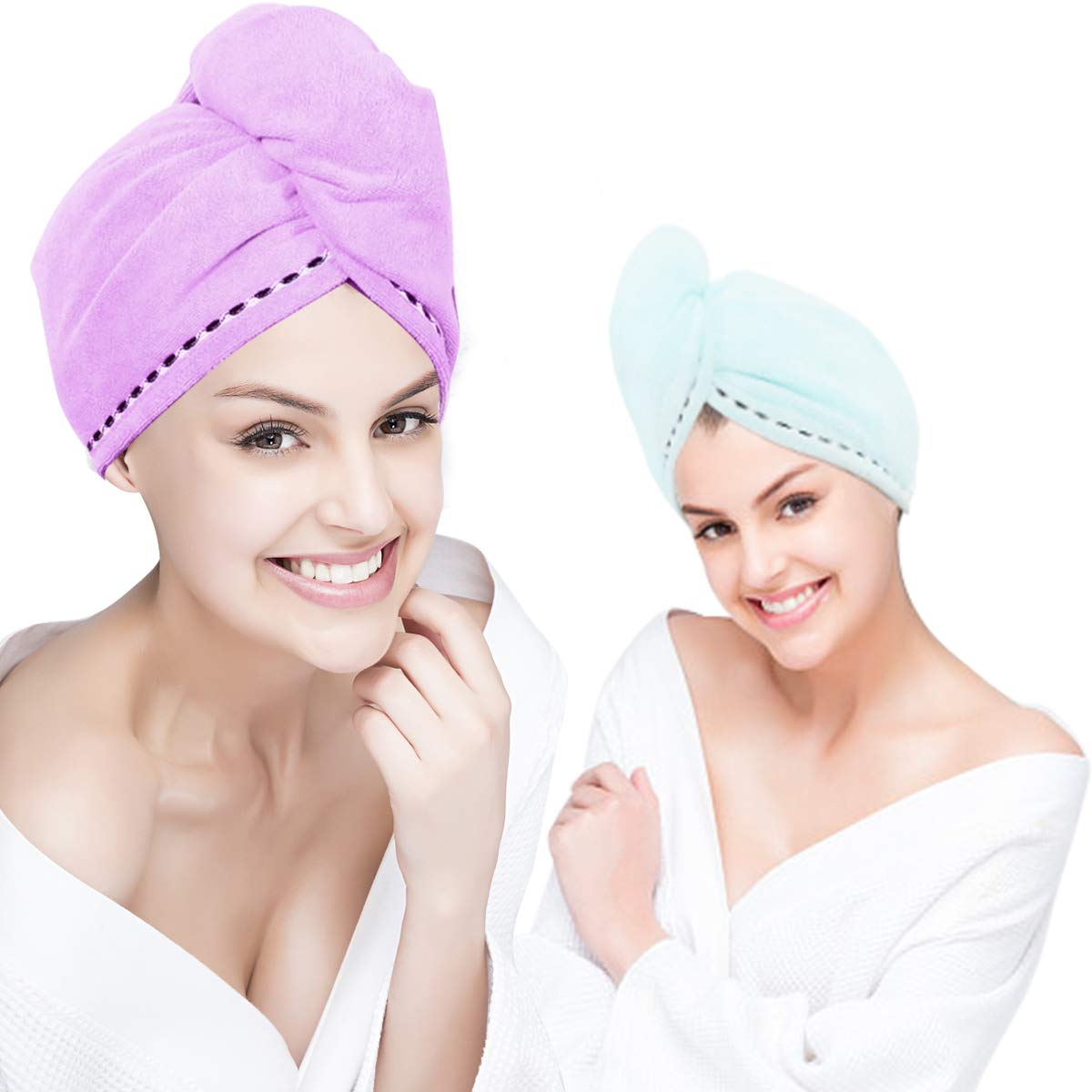 Microfiber Hair Towel Wrap Super Absorbent Quick Dry Turban Drying Curly Long Thick Hair Bath Cap Drying Wraps Bathroom Towels