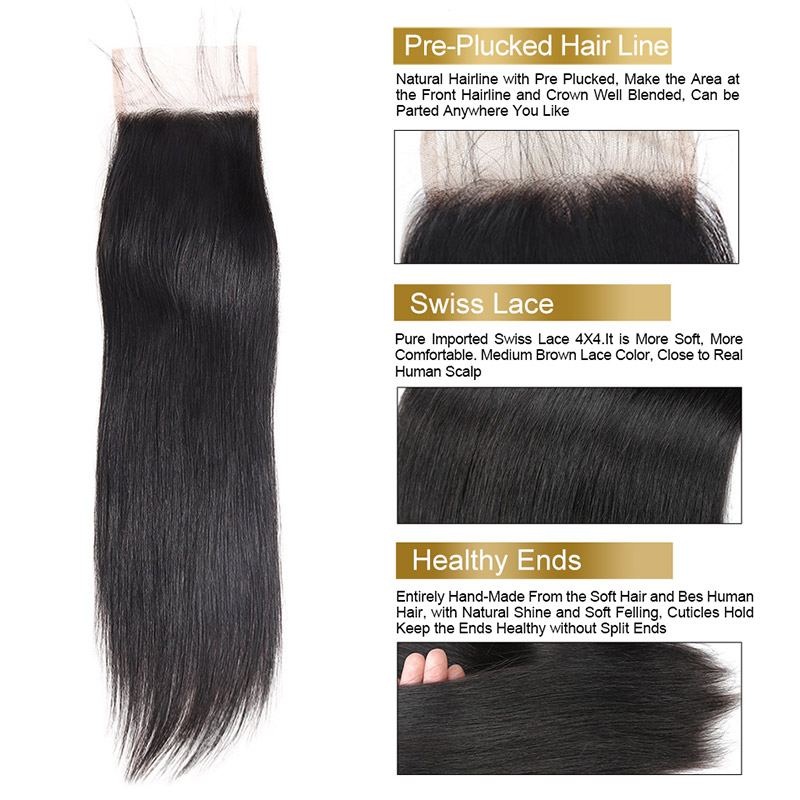 Peruvian Straight Virgin Hair Bundles with Closure with Baby Hair Unprocessed Straight Human Hair Bundles with Closure Funmi