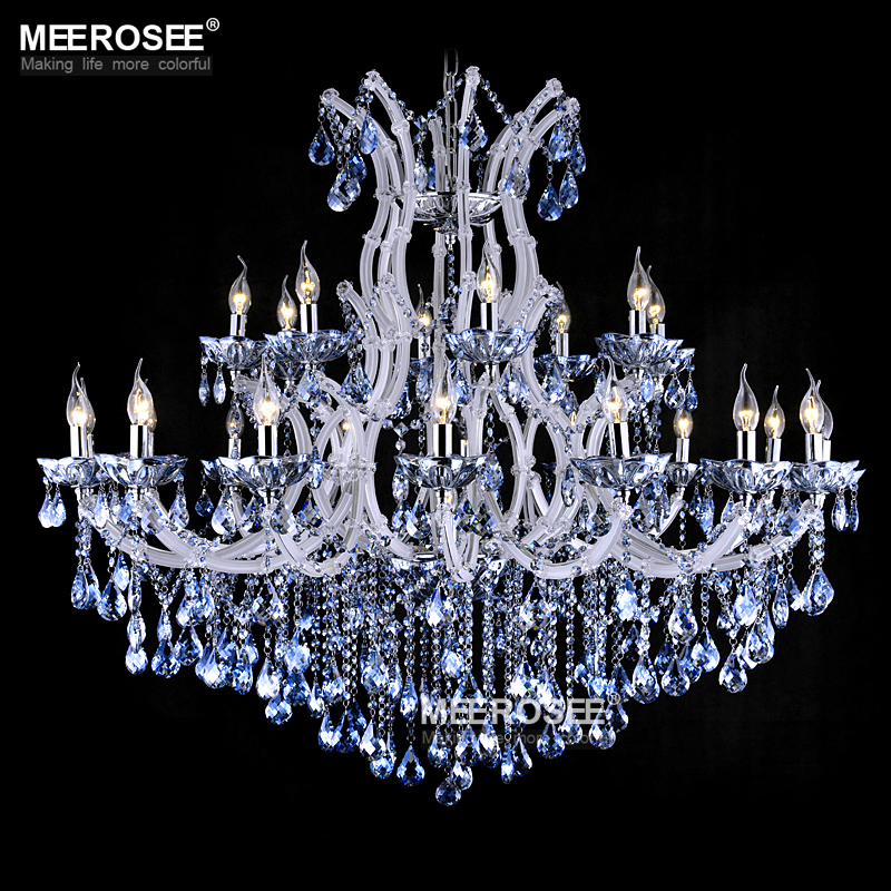 Us 1198 0 30 Off Blue Color Maria Theresa Crystal Chandelier Lamp Light Lighting Fixture Large White Ers D1200mm H1000mm In