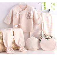 5pcs Set Cotton Infant Baby Girl Boy Set Newborn 0 6M Clothes Suit Gift Everything For