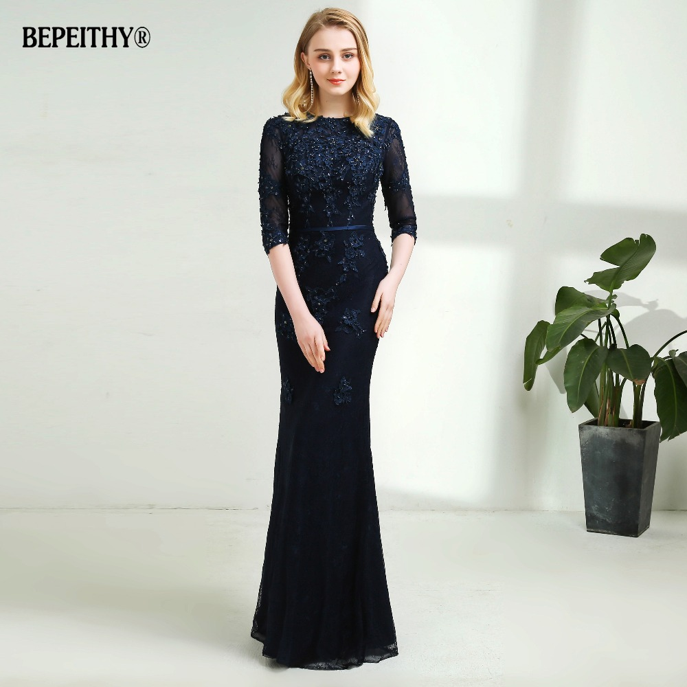 0840e256f5fe9 Modest Mermaid Lace Evening Dress Half Sleeves Custom Made Full Length  Vintage Mother Of The Bride ...