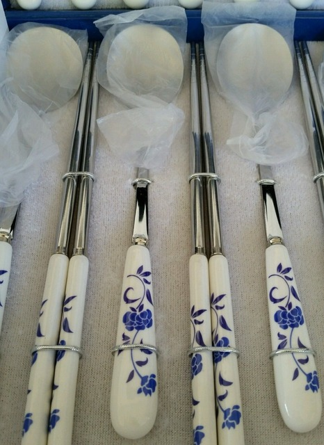 Chinese Blue and White Porcelain Tableware set. Fork Spoons Chopsticks knife