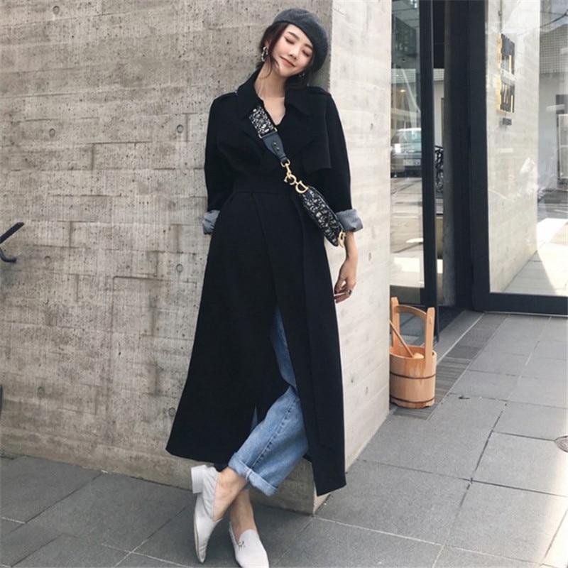Black Slim Long   Trench   Coat Vintage Elegant Long Sleeve Casual Fashion Autummn Spring Long Coat Women Cortaviento Mujer Ds50752