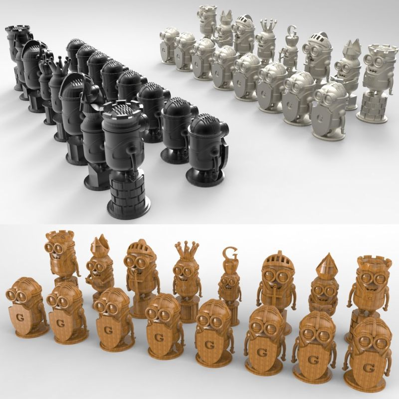 Minions_chess 3D Model For 4 Axis Circular Diagram 3D Carved Sculpture Cnc Machine In STL File