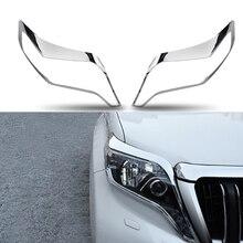 цена на For Toyota Prado 150 2014 2015 2016 2017 Accessories ABS Chrome Front Head Light Lamp Frame Decoration Cover Trim styling 2pcs