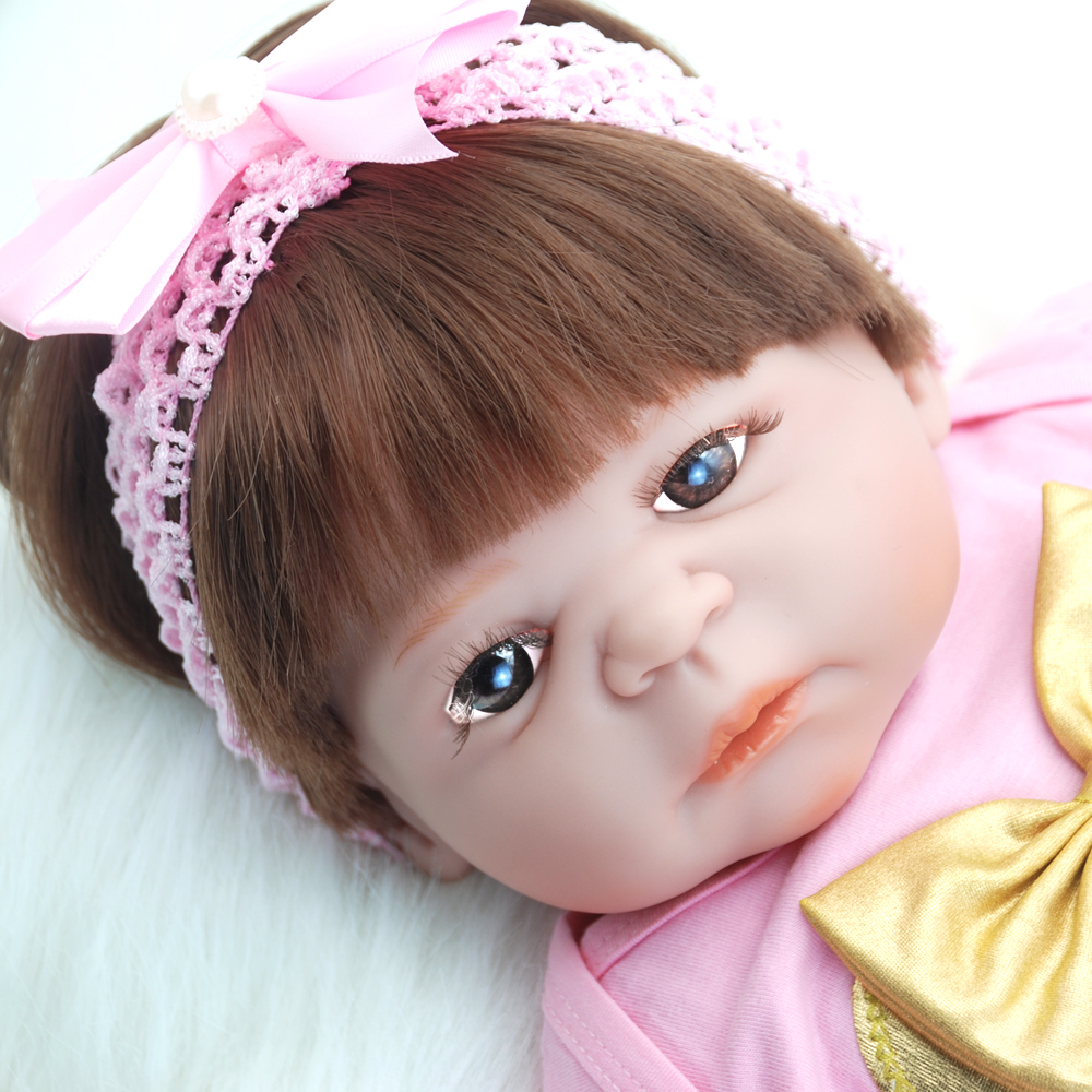NicoSeeWonder Girl Boneacs 22 Inch Bebe Baby Reborn Dolls Lifelike Full Silicone Reborn Toddler Toys With Dress Kit For Gift