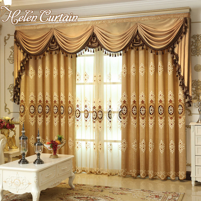 Helen Curtain Set Luxury European Style Embroidered Curtains For Living Room Window Color Brown Valance
