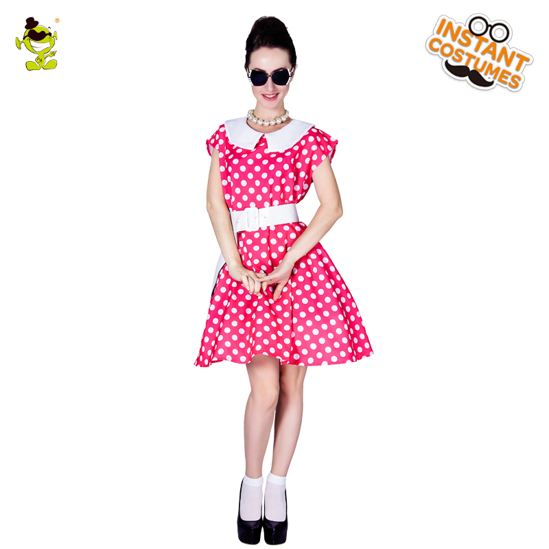Women's 50's Pink Retro Ladies Polka Dot Costumes Women Carnival Greased Lady Cosplay Sexy Rock Fancy Dress costumes