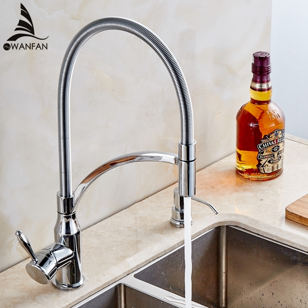 Chrome Spring Kitchen Faucets Single Handle Spring Pull Down Kitchen Tap 360 Swivel Water Mixer Crane Hot Cold Mixer Tap MKQ3-L micoe pull style hot and cold water kitchen faucet mixer single handle single hole modern style chrome tap 360 swivel m hc103