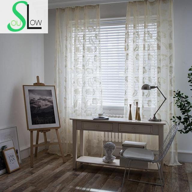 Slow Soul Cream Colored Jacquard Modern Simple Curtains Tulle For