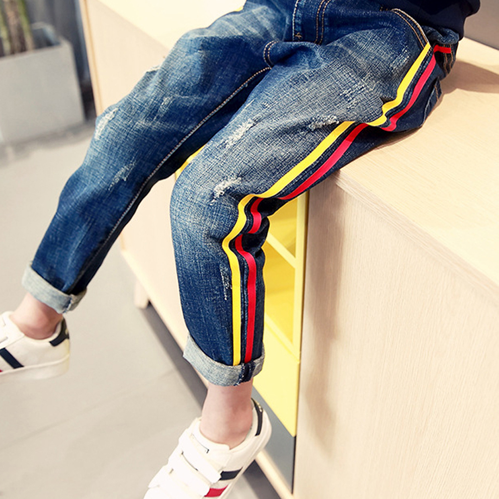 kids denim trousers children's jeans for boys teenager school 2017 spring autumn cotton lace ripped skinny jeans pants infantil 2017 new designer korea men s jeans slim fit classic denim jeans pants straight trousers leg blue big size 30 34