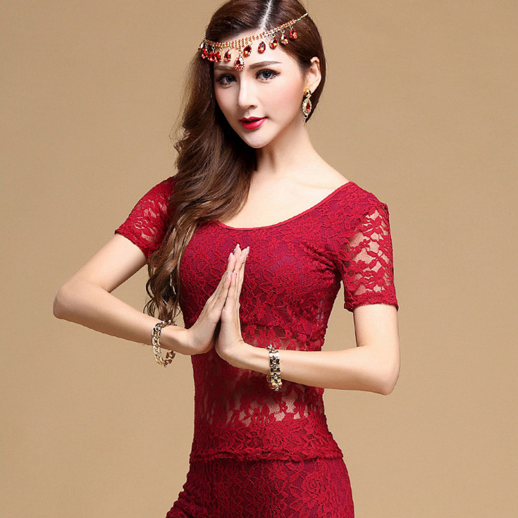 Sexy Lace Short Sleeve Oriental Eastern Belly Dance Tops Shirt Costume For Sale Women Bellydance Dancing Clothes Clothing Wear