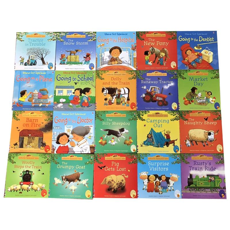 20 libros/juego 15x15cm niños Usborne libros de fotos niños bebé historia famosa inglés niño libro Farmyard Tales Story Eary educación Estante de microondas de 2 niveles/3 niveles estante de cocina estante de especias organizador de almacenamiento de cocina estante organizador de baño libro de Shelve