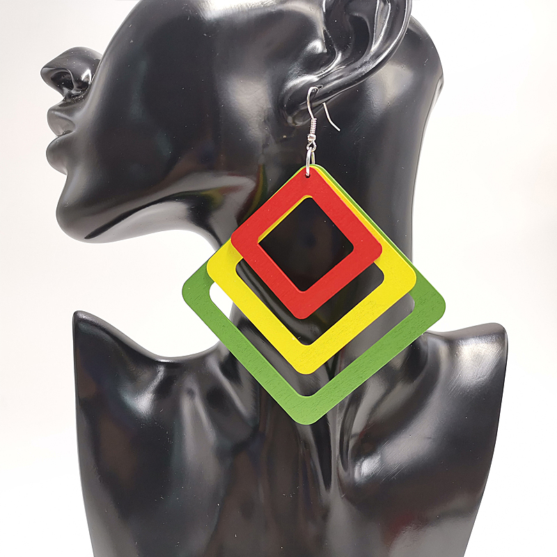 YD&YDBZ New Square And Oval Geometric Wooden Earrings Women Drop Earrings 6cm Big Accessories Punk Style Fashion Jewelry Wedding