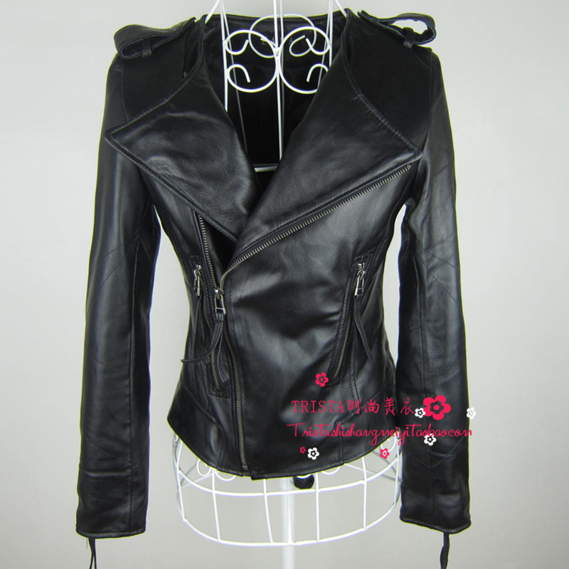 2015 spring slim short design genuine leather clothing female o neck sheepskin leather jacket outerwear