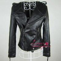 2015 primavera breve disegno sottile vestiti del cuoio genuino femminile pelle di pecora o-collo giacca di pelle tuta sportiva