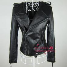 2015 spring slim short design genuine leather clothing female o-neck sheepskin leather jacket outerwear