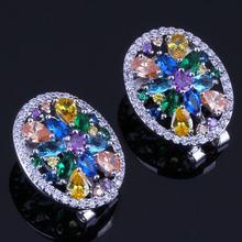 Unusual Multigem Multicolor Yellow Cubic Zirconia 925 Sterling Silver Clip Hoop Huggie Earrings For Women V0378