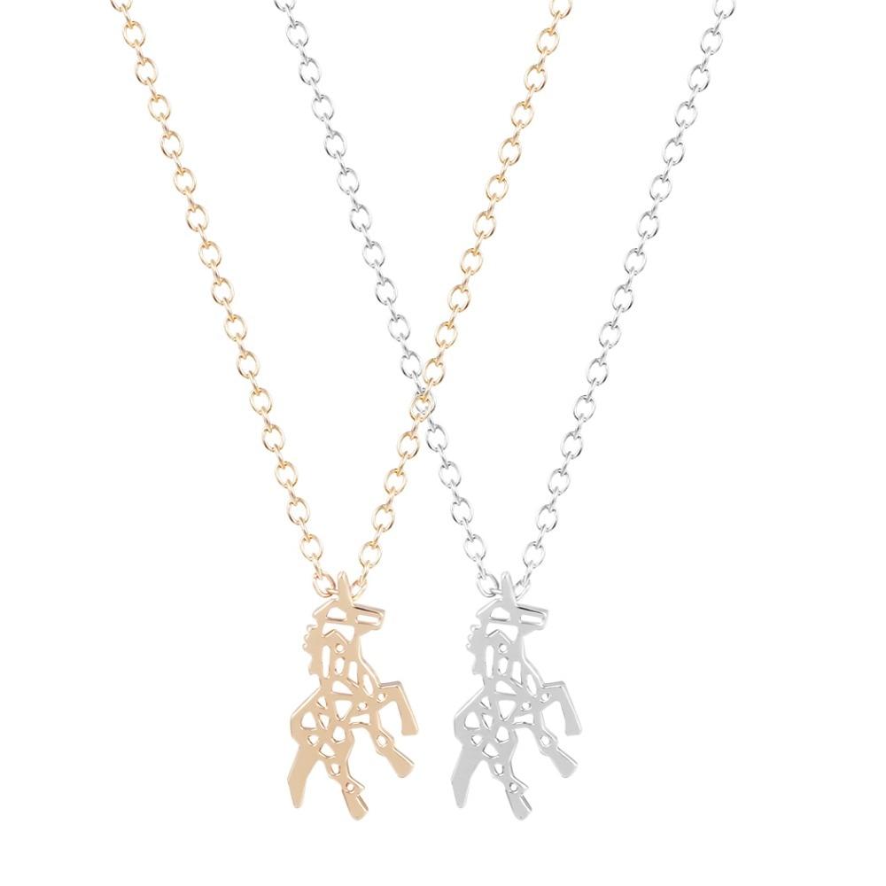 QIAMNI 10pcs/lot Beautiful Unicorn Necklace Unique Pendant Necklace Minimalist Jewelry Hot Fashion Gift for Girls and Women
