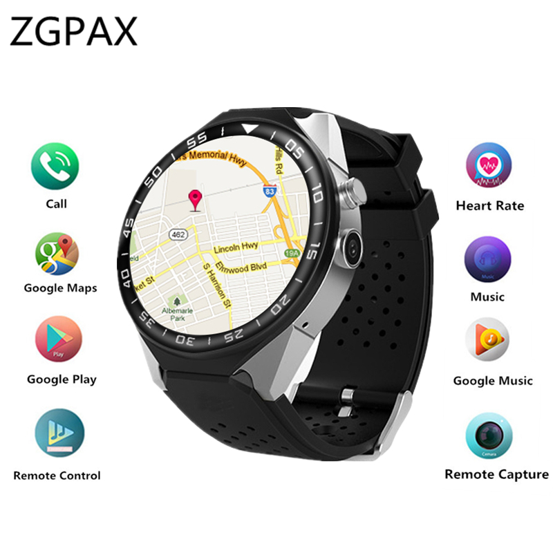 ZGPAX Smart watch KW88C Android 5.1 OS MTK6580 RAM 2GB ROM 16GB SmartWatch Heart rate Monitoring 2MP Camera 3G+WIFI+GPS PHONE zgpax s5 watch smart phone dual core 1 54 inch capacitive touch screen android 4 0 512mb ram 4g rom 2mp camera with gps silver black