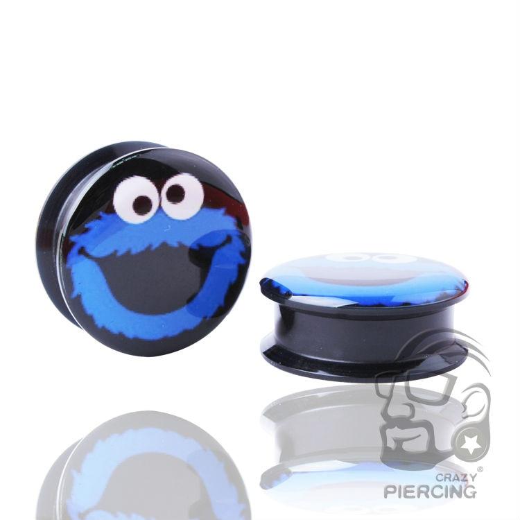 Синий Сова затычка для ушей винт УФ Акриловые плоть ушной туннельный датчик пирсинг ювелирные изделия с расширителем для тела