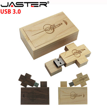 JASTER promotion creative wooden 2-color ten word rack usb+box USB 3.0 4GB/16GB/32GB/64GB USB flash drive (free custom logo)