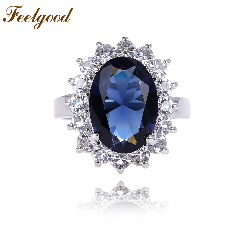 feelgood top quality classic princess diana ring blue austrian crystal wedding engagement rings for women - Princess Diana Wedding Ring