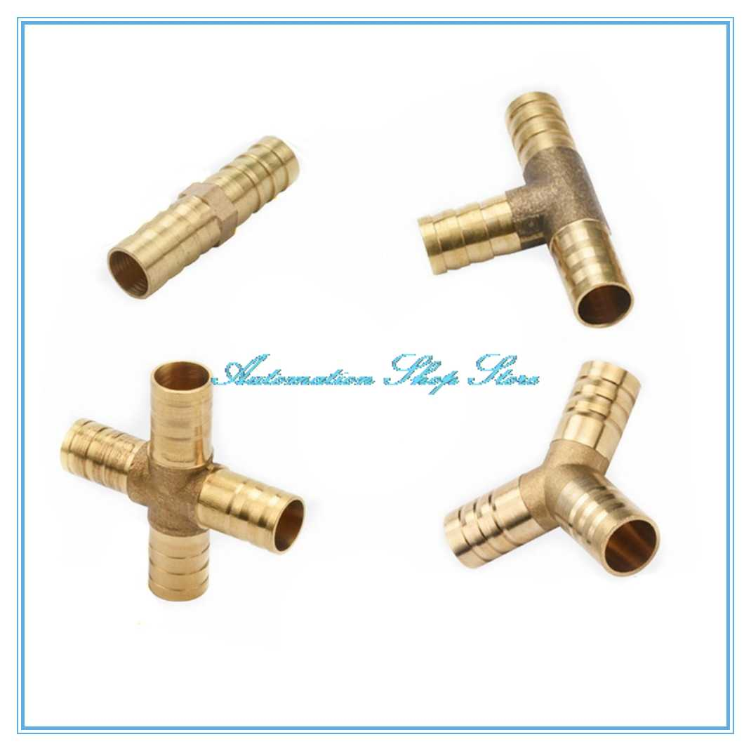 Messing Barb Pijp Montage 2 3 4 way connector Voor 4mm 5mm 6mm 8mm 10mm 12mm 16mm 19mm slang koper Pagode Water Tube Fittings