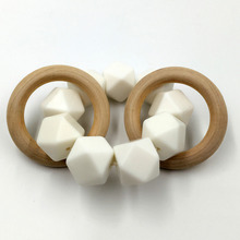 Baby Silicone Teether Nursing Bracelet Wooden Teether Ring Teether Nature Safe Organic Infant Teether Toys