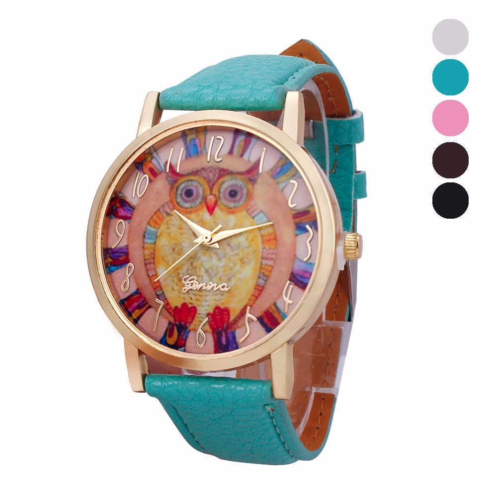 מכירה לוהטת יפה פופולרי ינשוף דפוס עור להקת שעה אנלוגי קוורץ שעונים לנשים Fahion מקרית שעון relogio feminino
