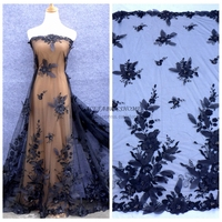 Black Off White 3D Flowers Sequins On Netting Mesh Embroidered Wedding Evinging Show Dress Lace Fabric
