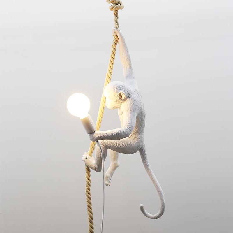 creative design Resin Monkey suspension luminaire Loft Hemp Rope Pendant Light for Home Lighting Bar Cafe Hanging Edison lamp