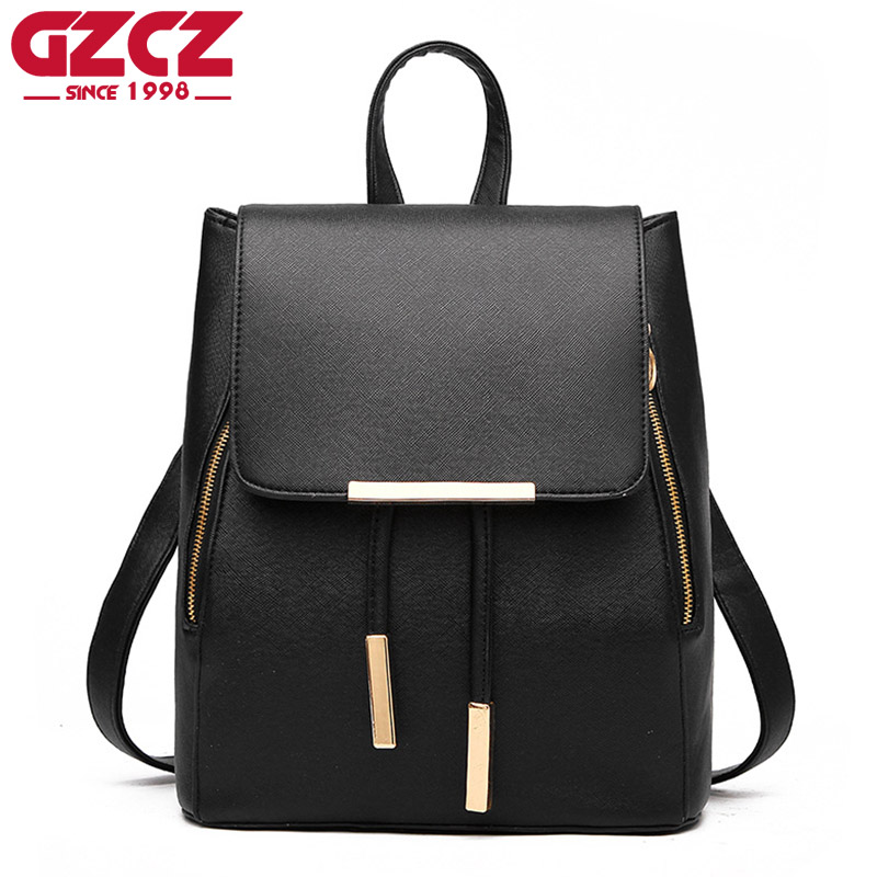 GZCZ 2017 Women Backpack For Girls Women New Vintage Casual Style Pu Leather School Bags Vintage Backpack For Teenage Girls cartoon melanie martinez crybaby backpack for teenage girls school bags backpack women casual daypack ladies travel bags