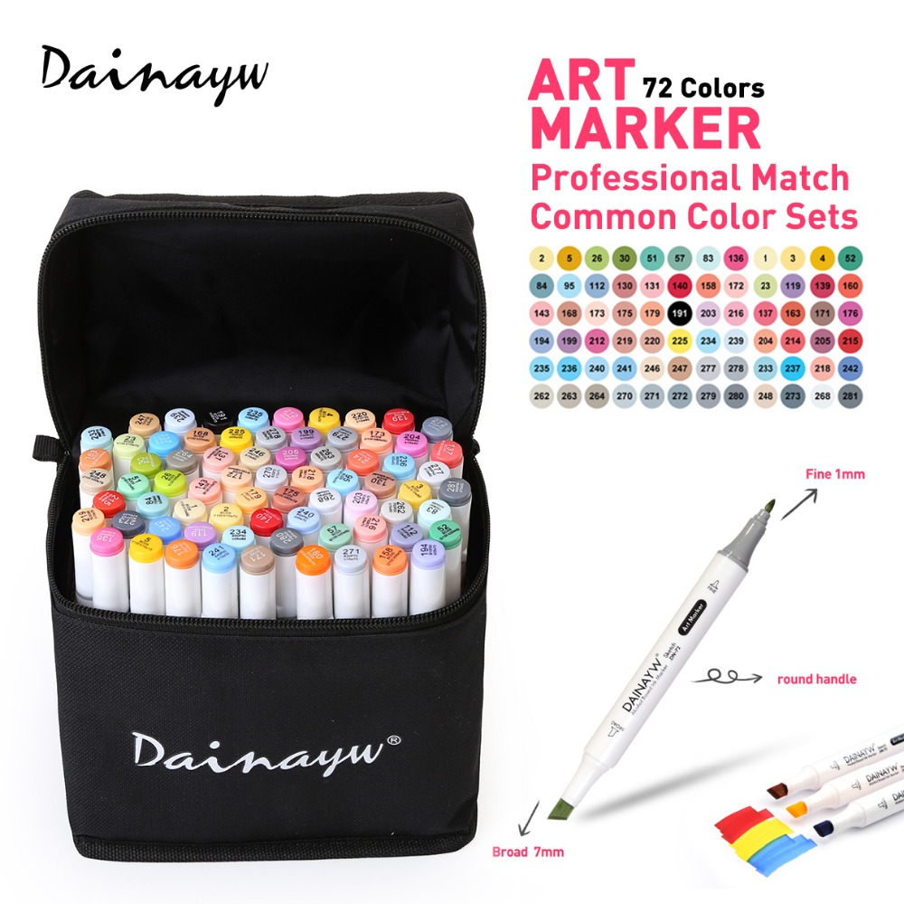 Dainayw 72 Colors Animation Art Marker Set Alcohol Based Dual Tips Sketch  Marker Pen For Drawing Manga Design Art Supplies dainayw 12 cool grey colors marker pen grayscale dual head art markers set for manga design drawing school student supplies
