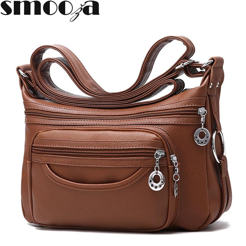 SMOOZA Brand Designer Women Messenger Bags Crossbody Soft Leather Shoulder Bag High Quality casual Women Bag Luxury Handbag-in Shoulder Bags from Luggage & Bags