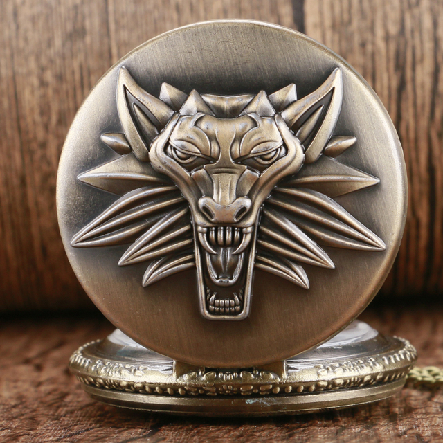Bronze Classic Game The Witcher 3 Wild Hunt Quartz Pocket Watch Retro Pendant Me