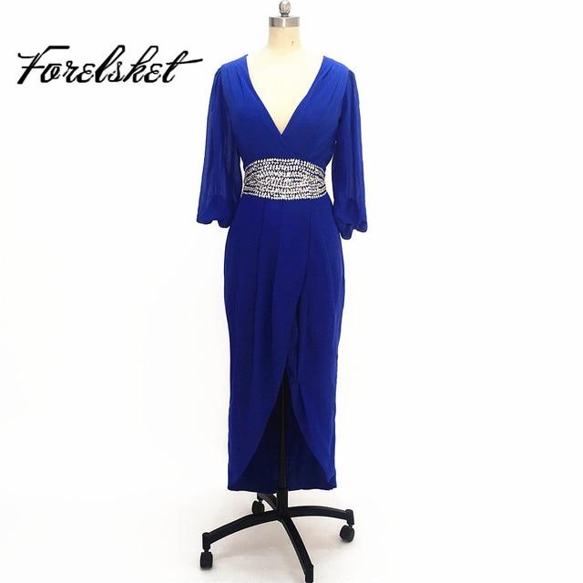 Sexy V neck Beading Three Quarter Sleeve Navy Blue Bridesmaid Dress ...