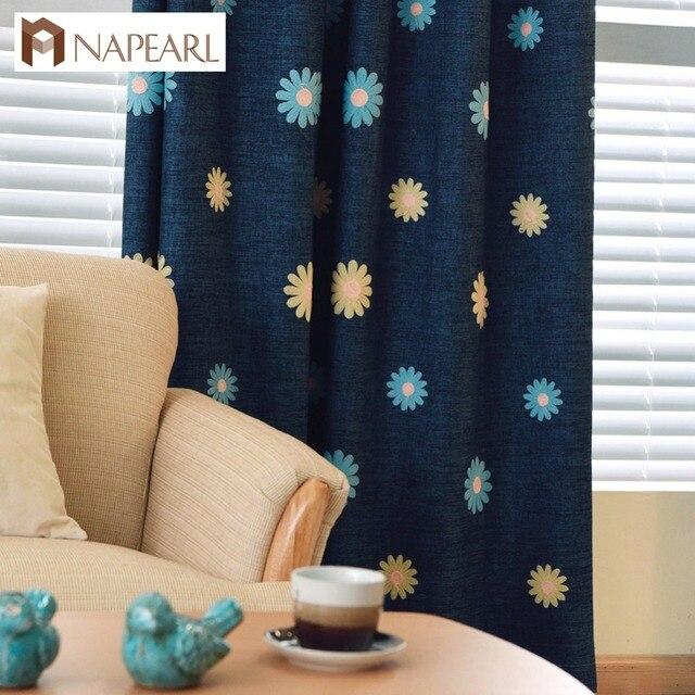NAPEARL Brodé rideaux linge enfants chambre fille chambre bleu vert ...