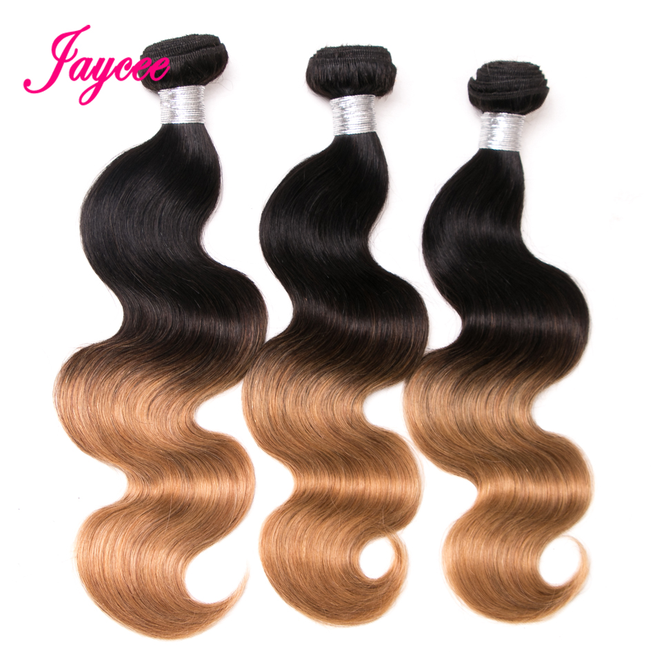 Jaycee Hair Indian Body Wave T1B/27 Gradient Color Remy Hair 10-26 Inch 100% Human Hair Weave Bundles Can Be Ironed And Dyed