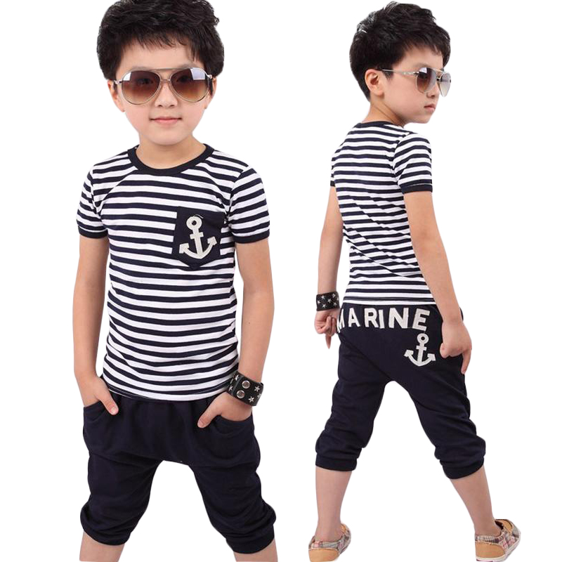 Children Clothing 2018 New Summer Cotton Boys Sets Striped T-shirts Shorts 2pcs Casual Kids Suit 2 3 4 5 6 7 8 Year Boys Clothes new batman boys clothing sets spring cotton captain america baby clothes suit children shirts pants 2 pieces suit kids clothing