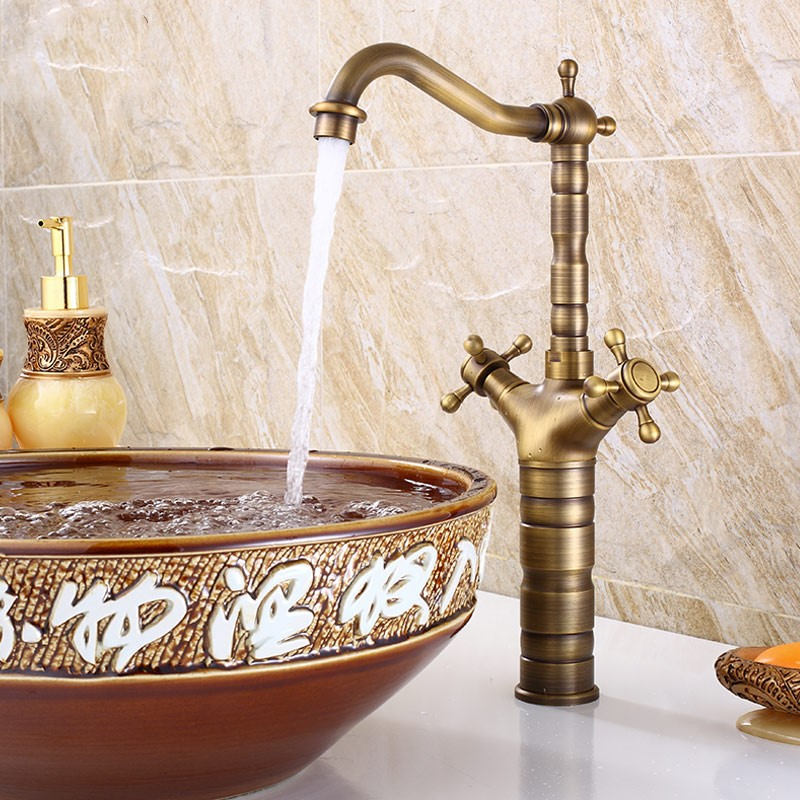 European style single handle bathroom antique brass mixer - Antique brass bathroom faucet centerset ...