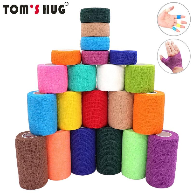 4,5 м красочные Elastoplast самоклеющиеся эластичный бинт Тома Hug Спорт Колено палец лодыжки Палм плеча спортивные Обёрточная бумага ленты
