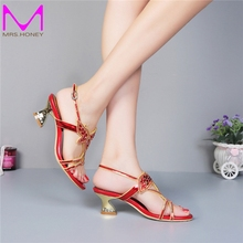 Middle Heel Rhinestone Wedding Shoes Cut-out Summer Sandals Slingback Chunky Heel Genuine Leather Lady Dress Sandals Plus Size