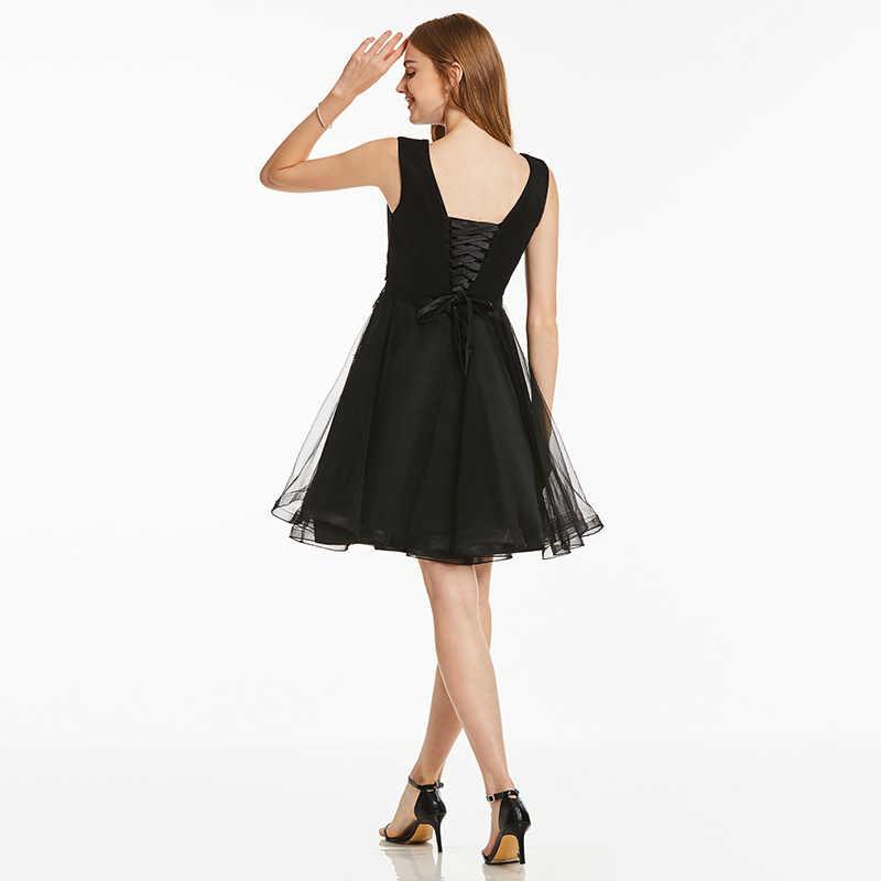 Женское платье без рукавов Tanpell, черное коктейльное платье длиной до колена с аппликацией из бусин
