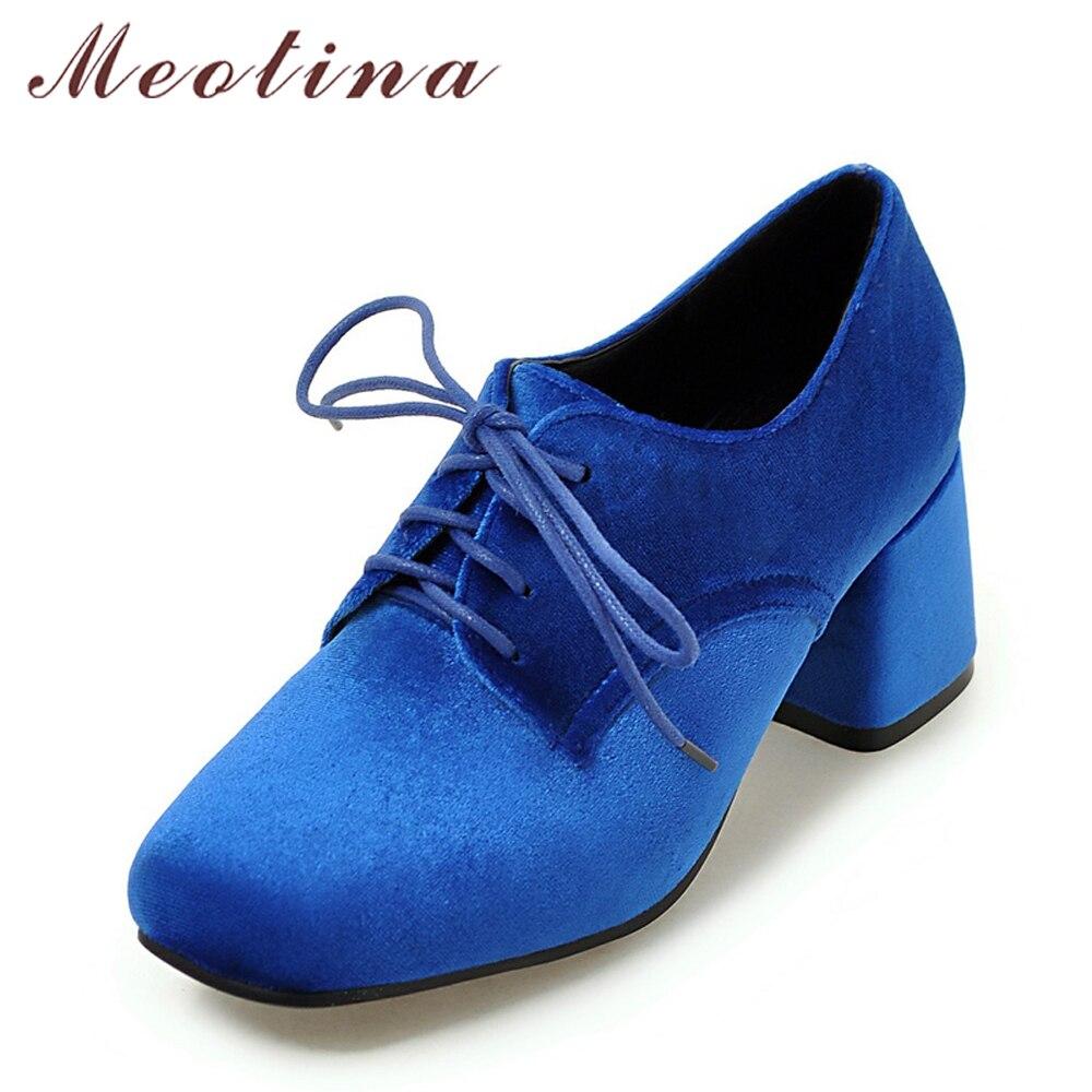цена на Meotina Women Pumps High Heels Velvet Shoes Block Heel Square Toe Lace Up Ladies Pumps Spring Purple Shoes Green Chaussure Femme