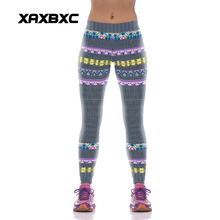 NEW KYK1073 Sexy Girl Women National Chain Striped 3D Prints High Waist Polyester Fitness Leggings Pants Plus Size